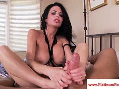 Veronica Avluv has her feet jizzed on