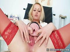 Blond Nurse Bitch Gets Perverted On Gynchair
