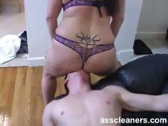 Chubby mistress smothers ass cleaner with her fat ass cheeks