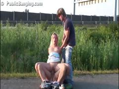 Public group sex with a hot pretty girl in broad daylight blowjob and entercorse with hunky guys