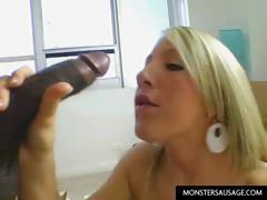 Blonde cute girl loves to play with cock