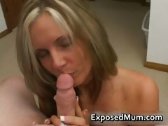 Hot mum with huge juggs sucks stiff rod part1