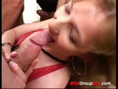 Nasty milf takes oral orgy sex and cum on a big plate