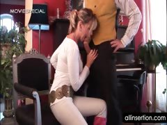 Hot teacher blows her student\&#039;s dick and rubs twat